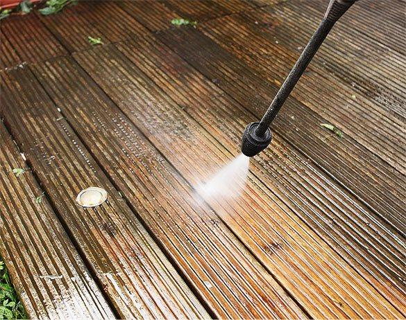 Close up deck cleaning