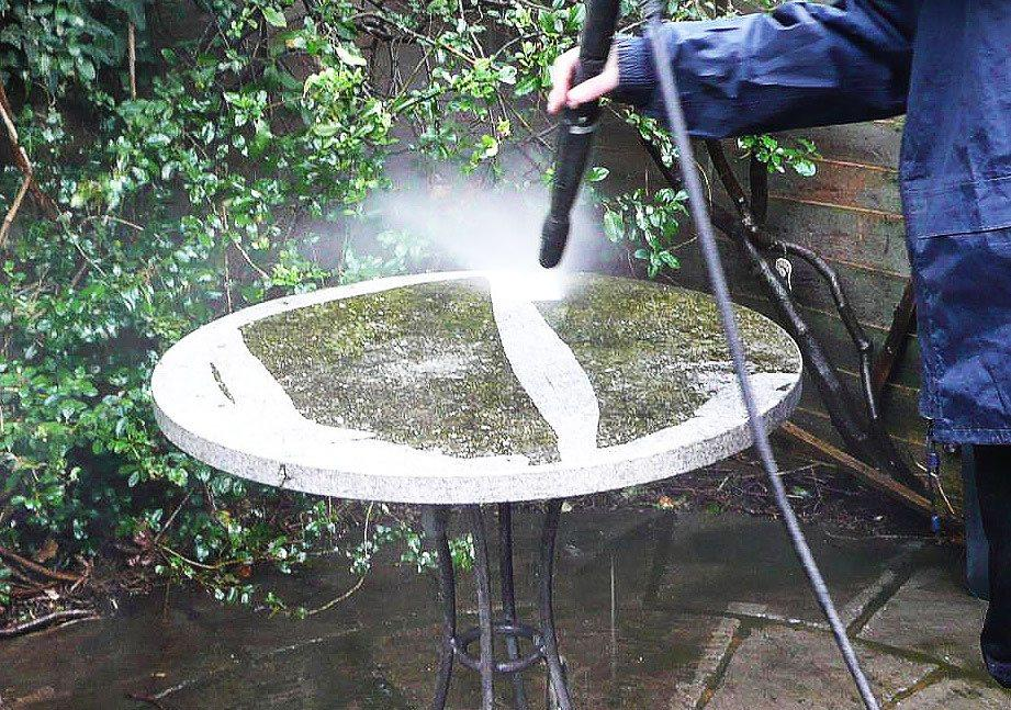 Cleaning concrete garden table