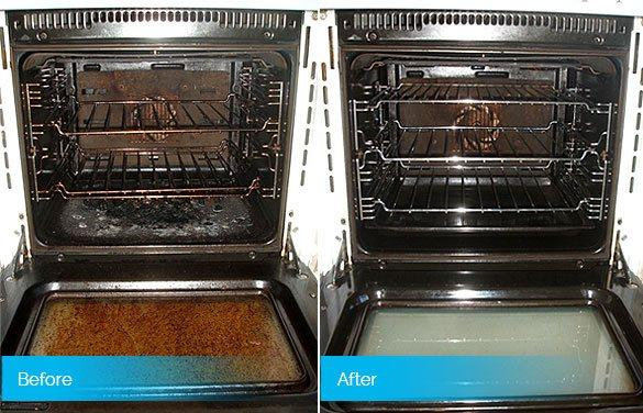 Oven before & after professional cleaning