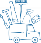 A drawing of a van full of home services